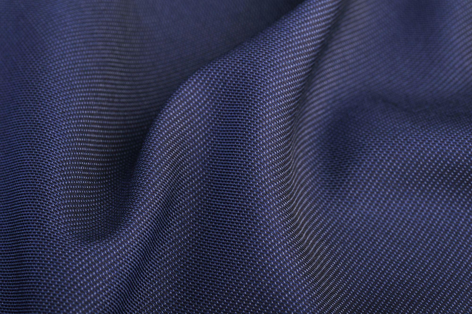Vászonszövésű kék 15% gyapjú, 35% viszkóz, 50% poliészter